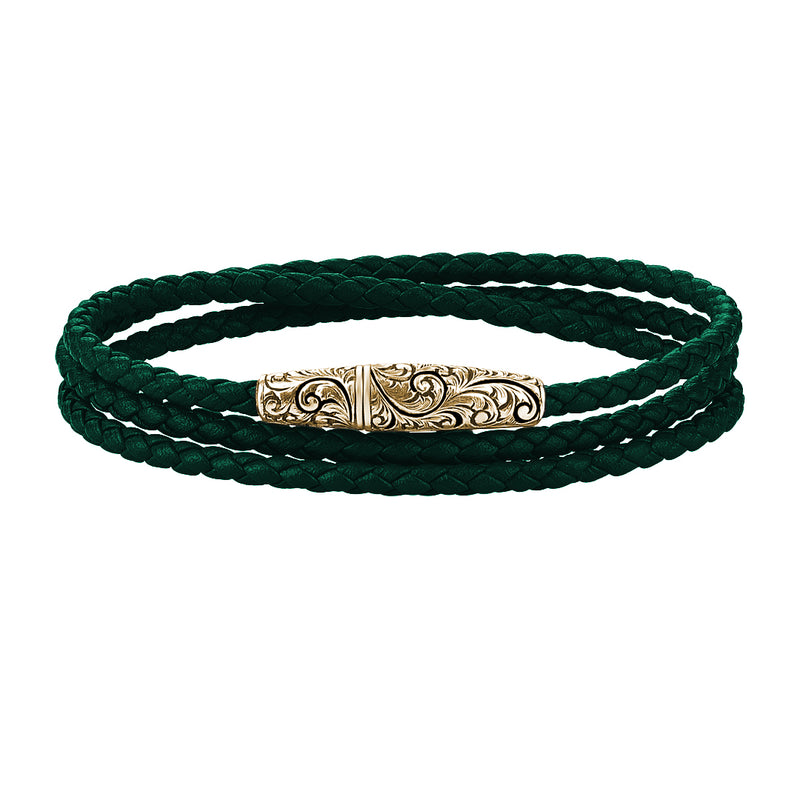 Classic Wrap Leather Bracelet - Solid Silver - Yellow Gold - Dark Green Leather