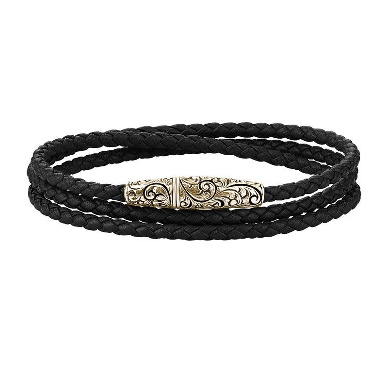 Classic Wrap Leather Bracelet - Solid Yellow Gold - Black Leather