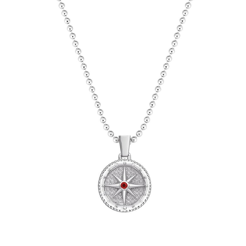 Compass Necklace in 18k White Gold - Ruby
