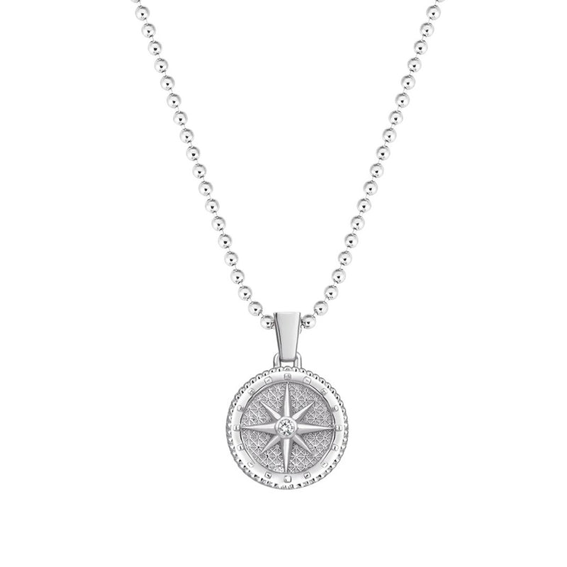 Compass Necklace in Gold - White Diamond