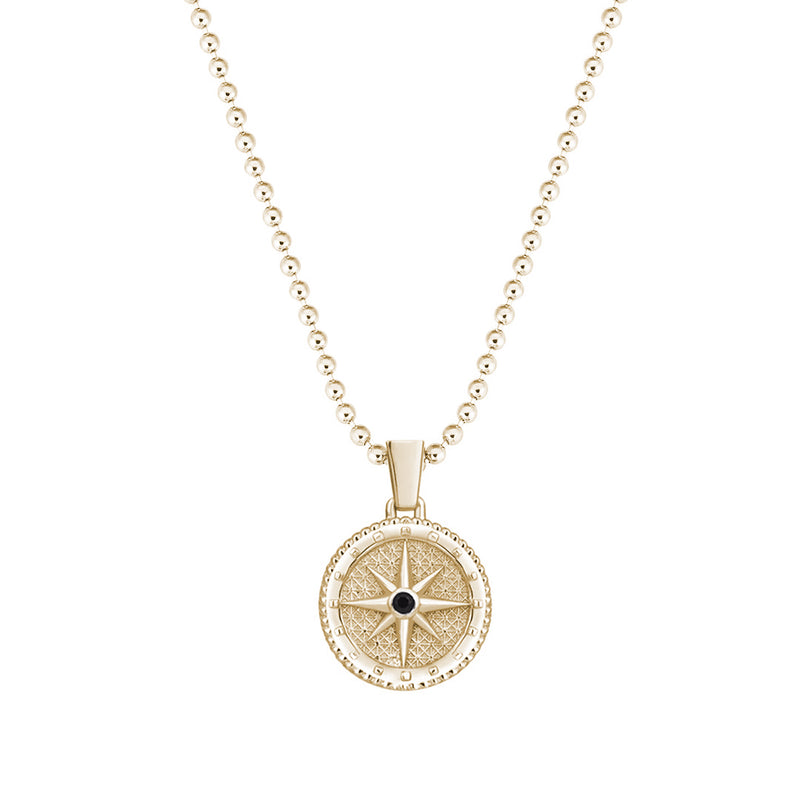 Compass Necklace in Yellow Gold - Black CZ