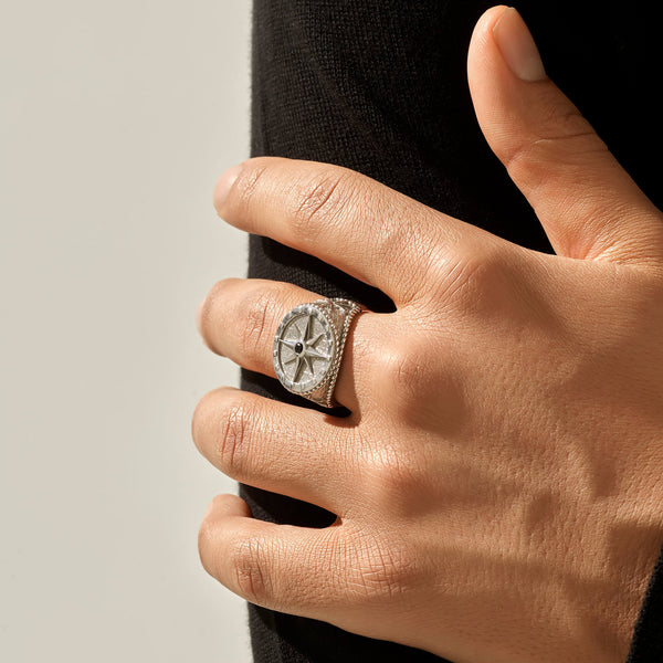 Compass Ring - Solid Silver