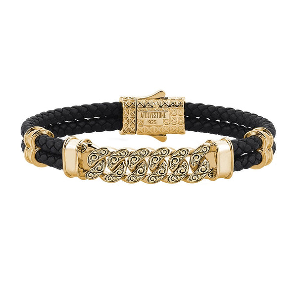Men's Classic Cuban Links Leather Bracelet - Yellow Gold - Black Leather