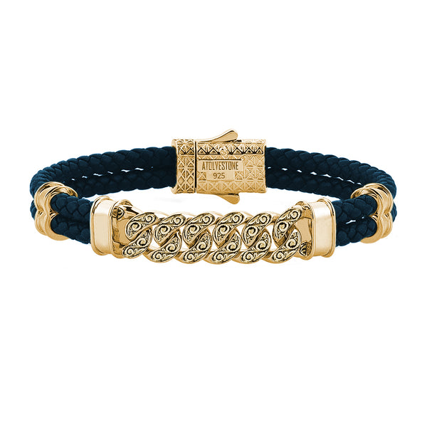 Men's Classic Cuban Links Leather Bracelet - Yellow Gold - Navy