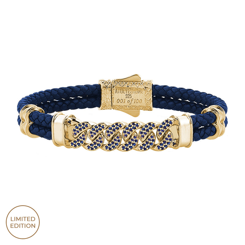 Cuban Links Leather Bracelet - Blue