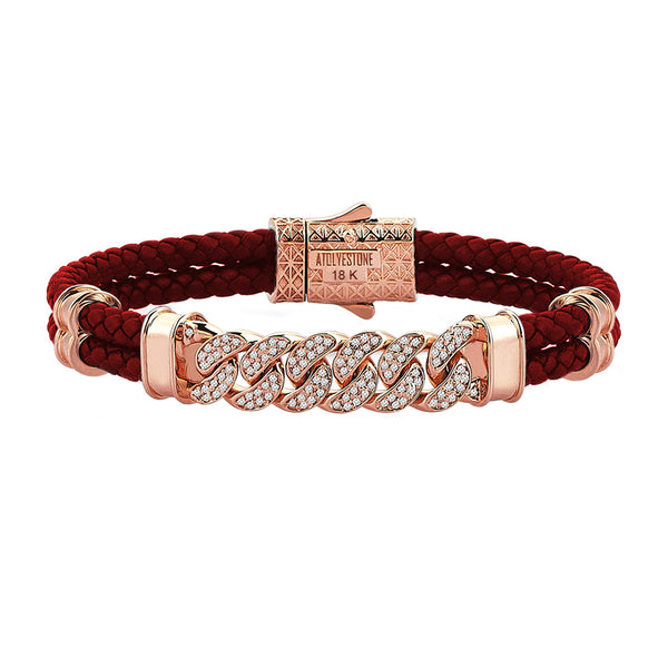 Mens Cuban Links Leather Bracelet - Dark Red Leather - Solid Rose Gold