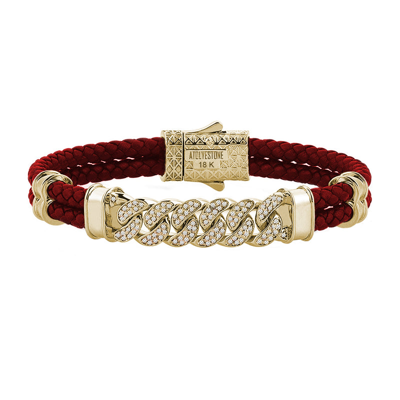 Mens Cuban Links Leather Bracelet - Dark Red Leather - Solid Yellow Gold