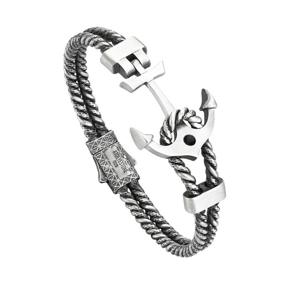 Mens Diamond Invictus Anchor Bangle - Solid Silver - Cubic Zirconia