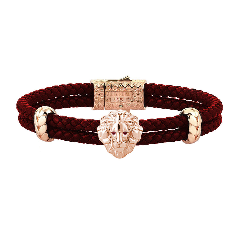 Diamond Leo Leather Bracelet - Rose Gold - Dark Red Leather - Ruby