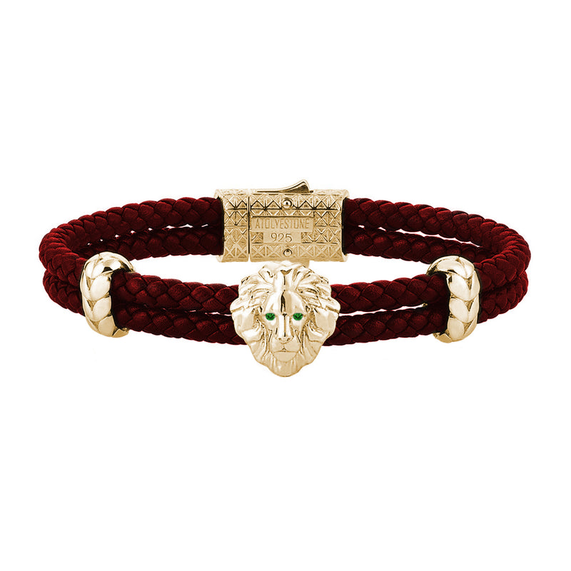 Diamond Leo Leather Bracelet - Yellow Gold - Dark Red Leather - Emerald
