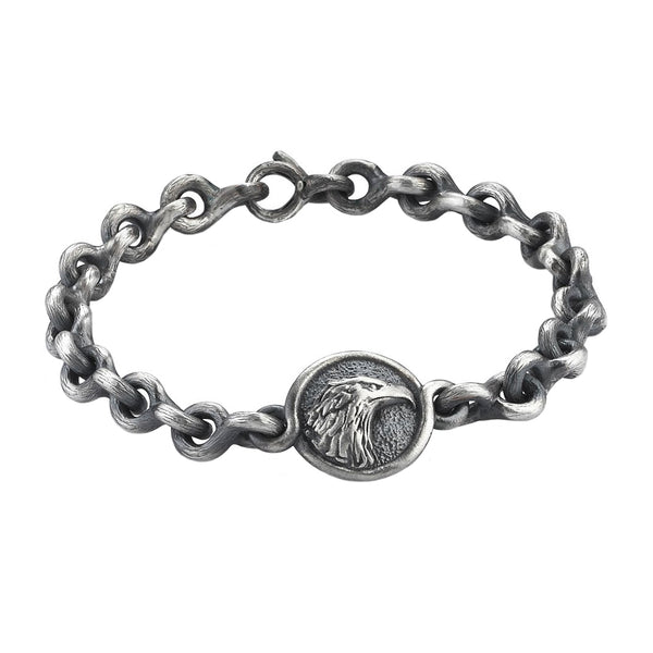 Mens Eagle Chain Bracelet - Solid Silver