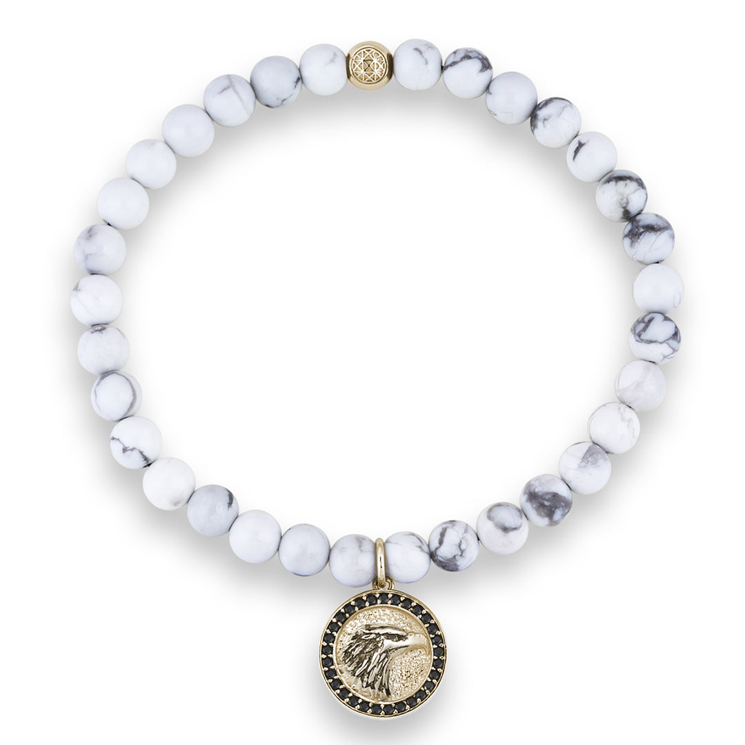 Women's Eagle Charm Beaded Bracelet - Solid Yellow Gold