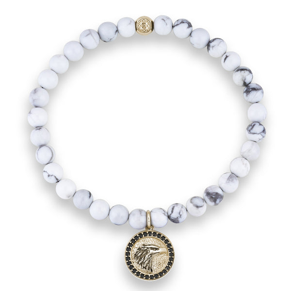 Mens Eagle Charm Beaded Bracelet - Howlite
