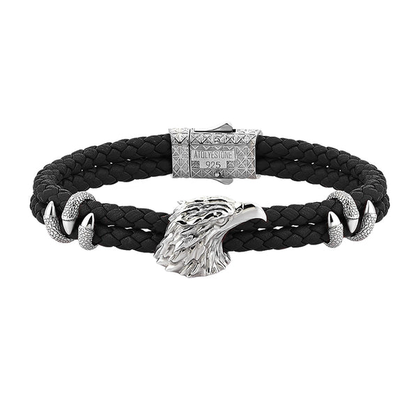 Mens Eagle Leather Bracelet  - Black Leather - Solid Silver