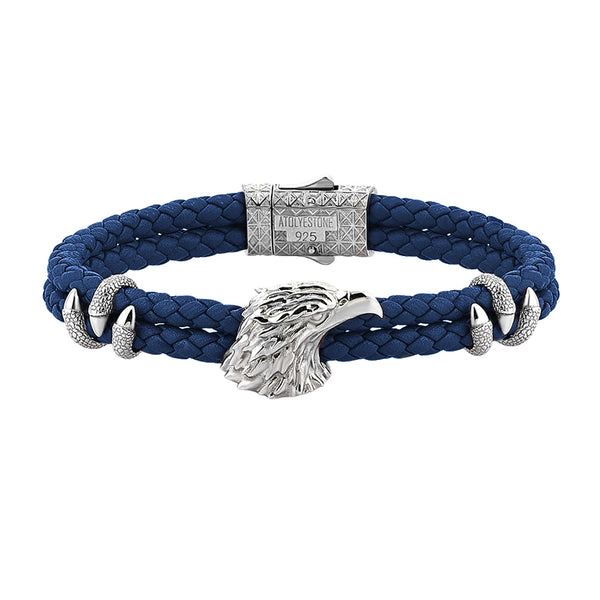 Mens Eagle Leather Bracelet  - Blue Leather - Solid Silver