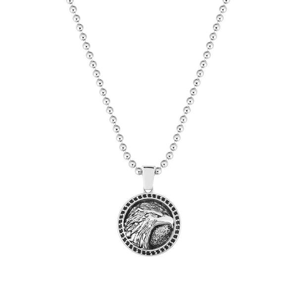 Eagle Necklace - White Gold - Pave Black Diamond