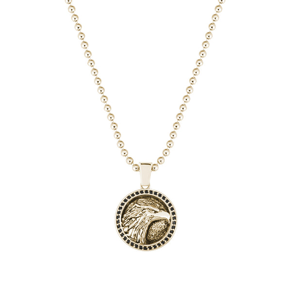 Eagle Necklace - Yellow Gold - Pave Black Diamond
