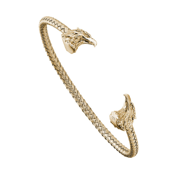 Eagle Cuff Bracelet - Solid Silver - Yellow Gold