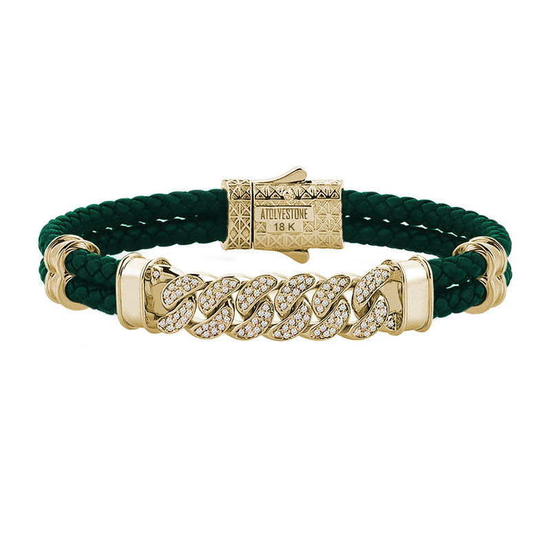 Mens Cuban Links Leather Bracelet - Dark Green Leather - Solid Yellow Gold