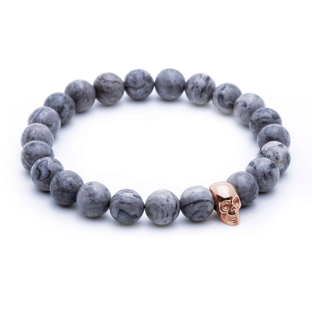 Skull Beaded Bracelet - Rose Gold - Grey Jasper