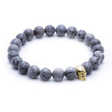 Skull Beaded Bracelet - Yellow Gold - Grey Jasper