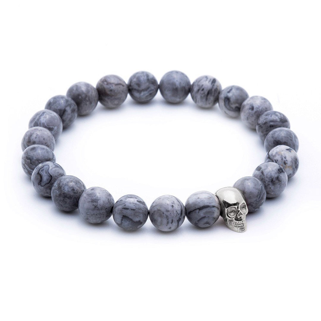 Skull Beaded Bracelet - White Gold - Grey Jasper