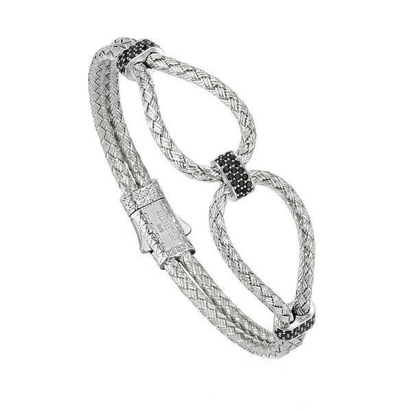 Mens Infinity Bangle - Silver - White Gold