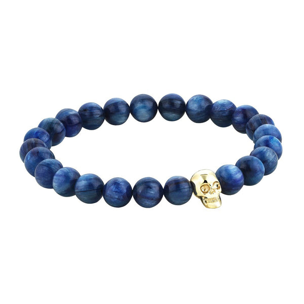 Mens Exclusive Skull Beaded Bracelet - Yellow Gold - Kyanite