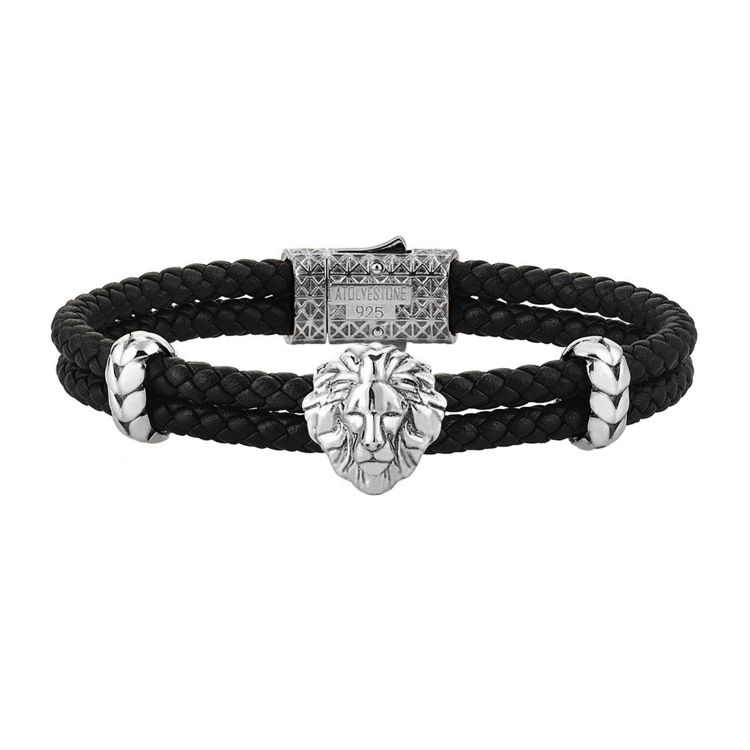 3307a28a3a5 ... Mens Leo Leather Bracelet - Black Leather - Oxidized Solid Silver ...