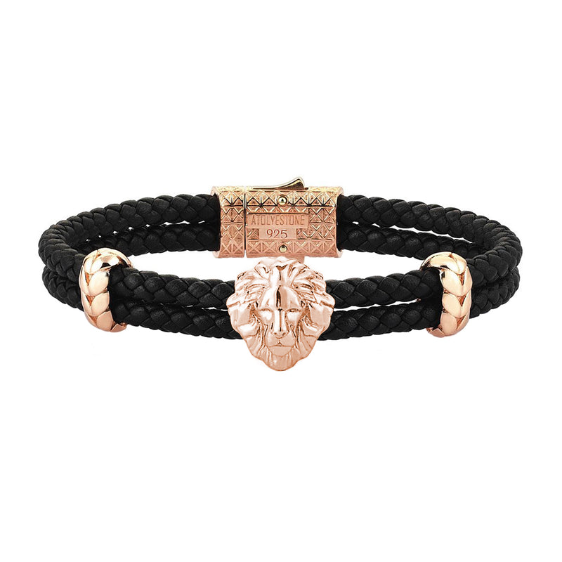 Mens Leo Leather Bracelet - Black Leather - Rose Gold