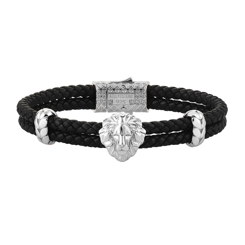 Mens Leo Leather Bracelet - Black Leather - Silver
