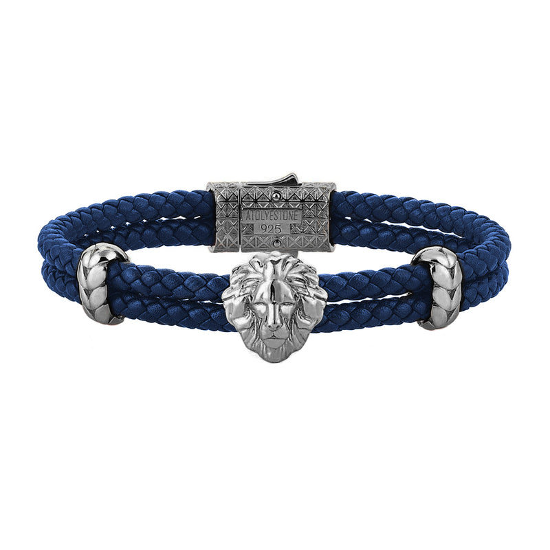 Mens Leo Leather Bracelet - Blue Leather - Gunmetal