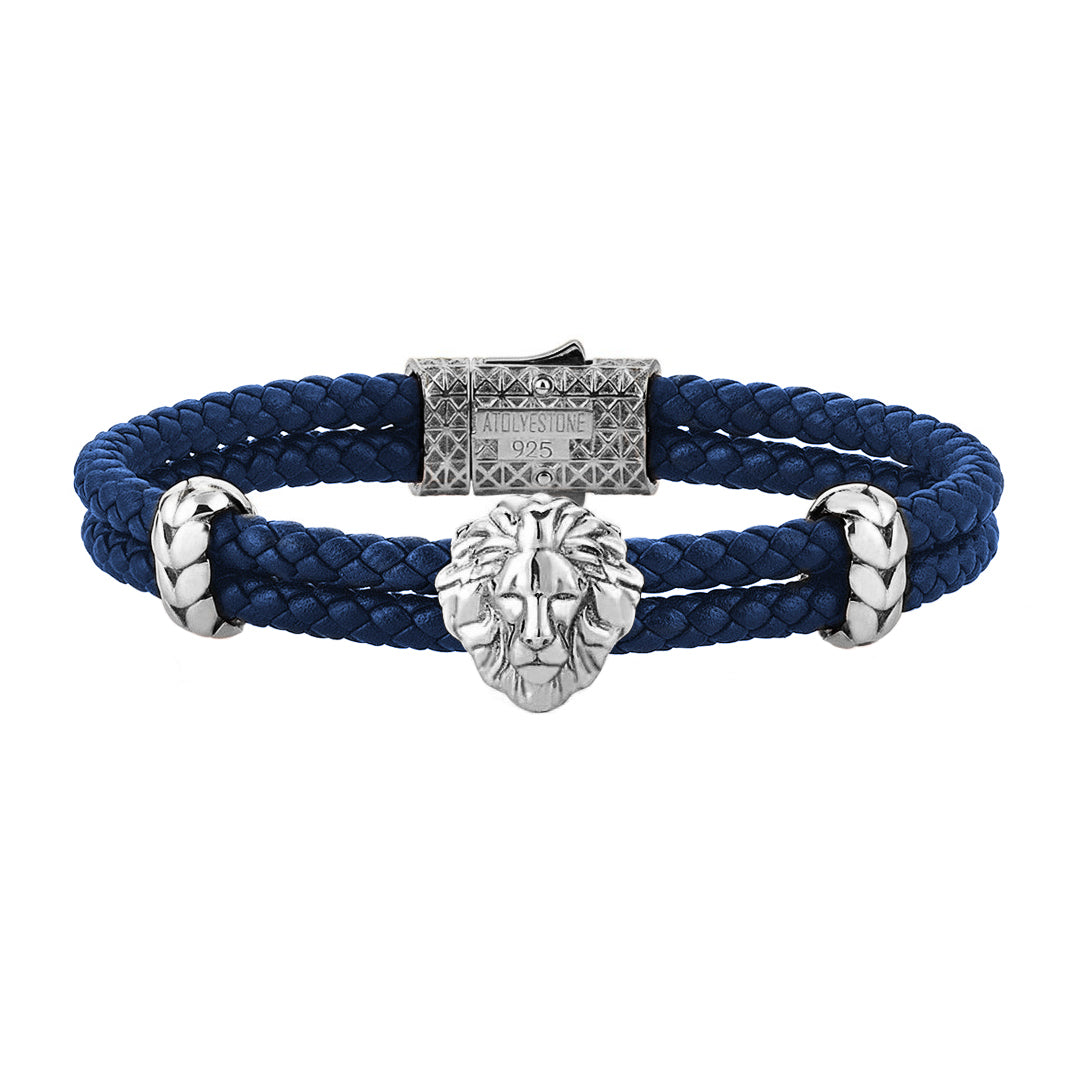 Mens Leo Leather Bracelet - Blue Leather - Oxidized Solid Silver