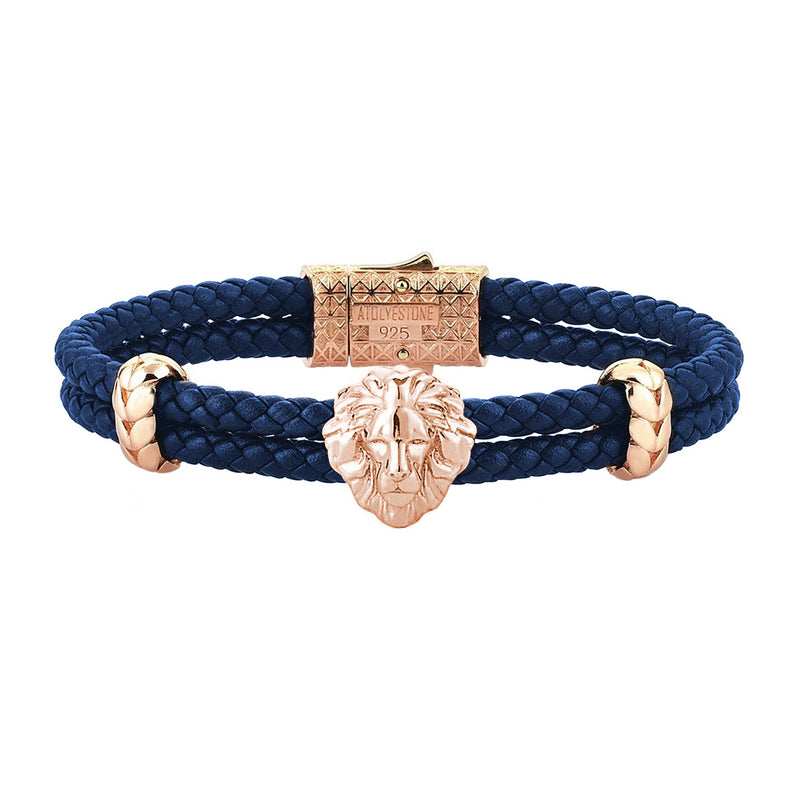Mens Leo Leather Bracelet - Blue Leather - Rose Gold