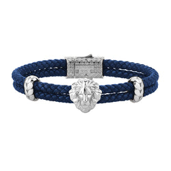 Mens Leo Leather Bracelet - Blue Leather - Silver