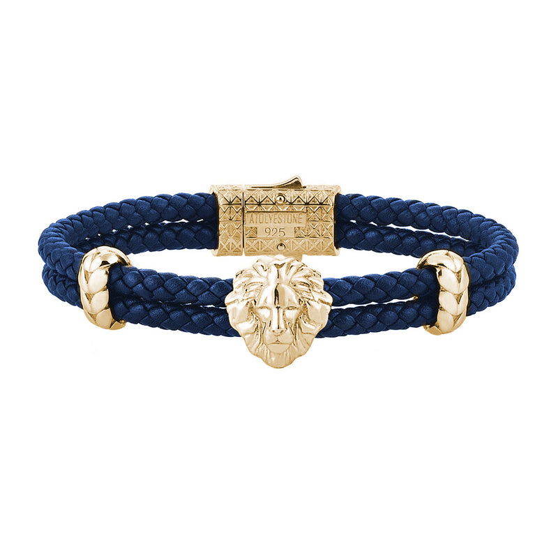 Mens Leo Leather Bracelet - Blue Leather - Yellow Gold