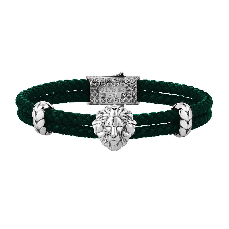 Mens Leo Leather Bracelet - Dark Green Leather - Oxidized Solid Silver