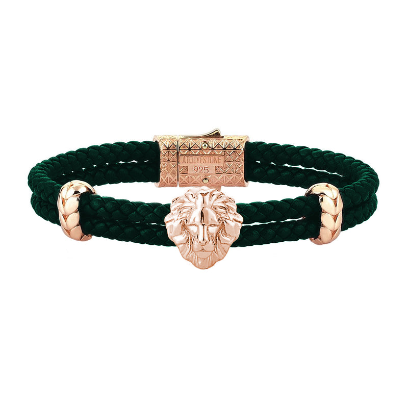 Mens Leo Leather Bracelet - Dark Green Leather - Rose Gold