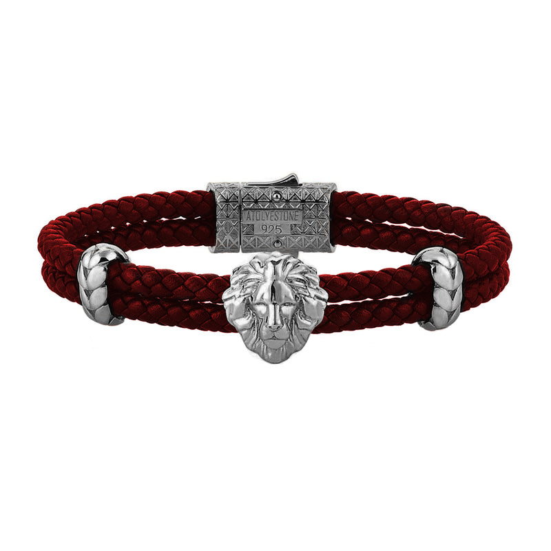 Mens Leo Leather Bracelet - Dark Red Leather - Gunmetal
