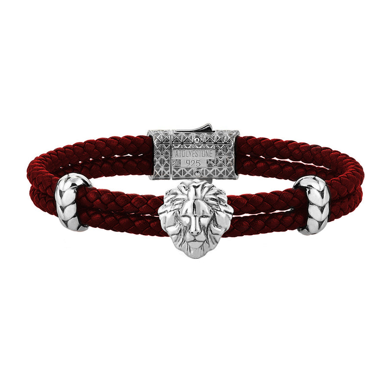 Mens Leo Leather Bracelet - Dark Red Leather - Oxidized Solid Silver