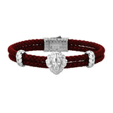 Mens Leo Leather Bracelet - Dark Red Leather - Silver