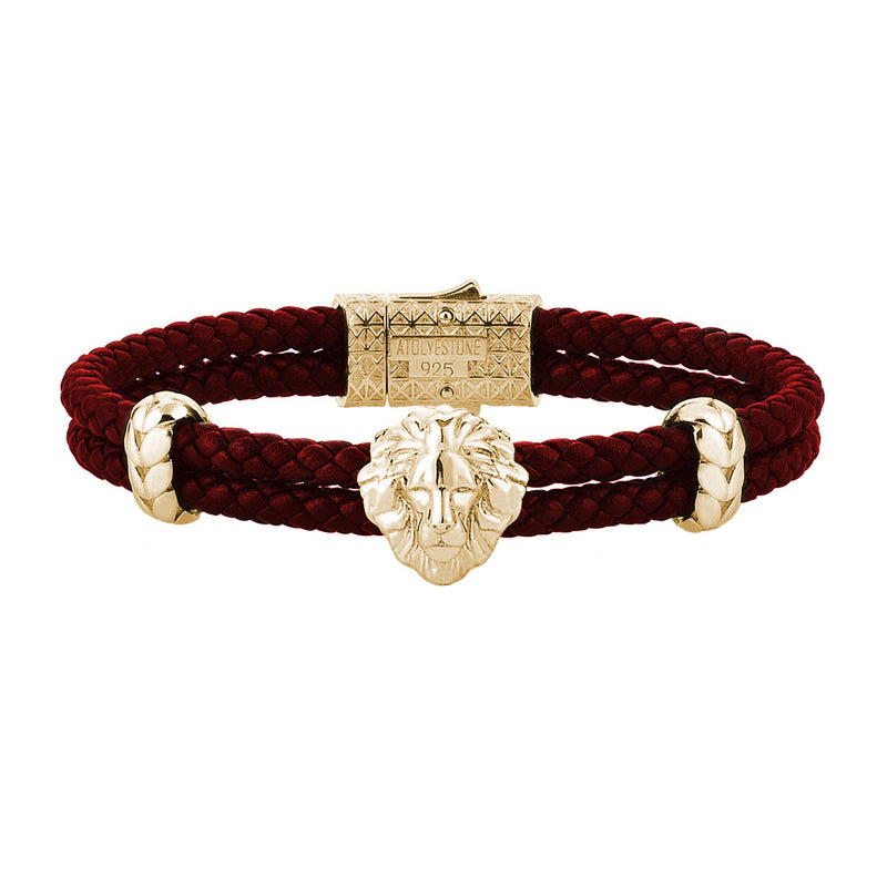 Mens Leo Leather Bracelet - Dark Red Leather - Yellow Gold