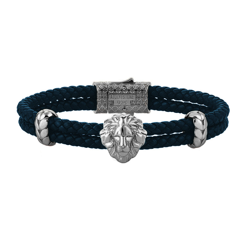 Leo Leather Bracelet - Solid Silver