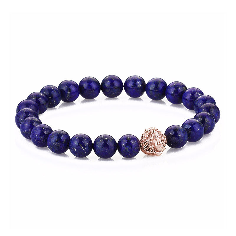 Exclusive Leo Beaded Bracelets - Rose Gold - Lapis Lazuli