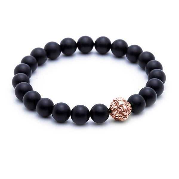 Leo Beaded Bracelets - Rose Gold - Agate - Men