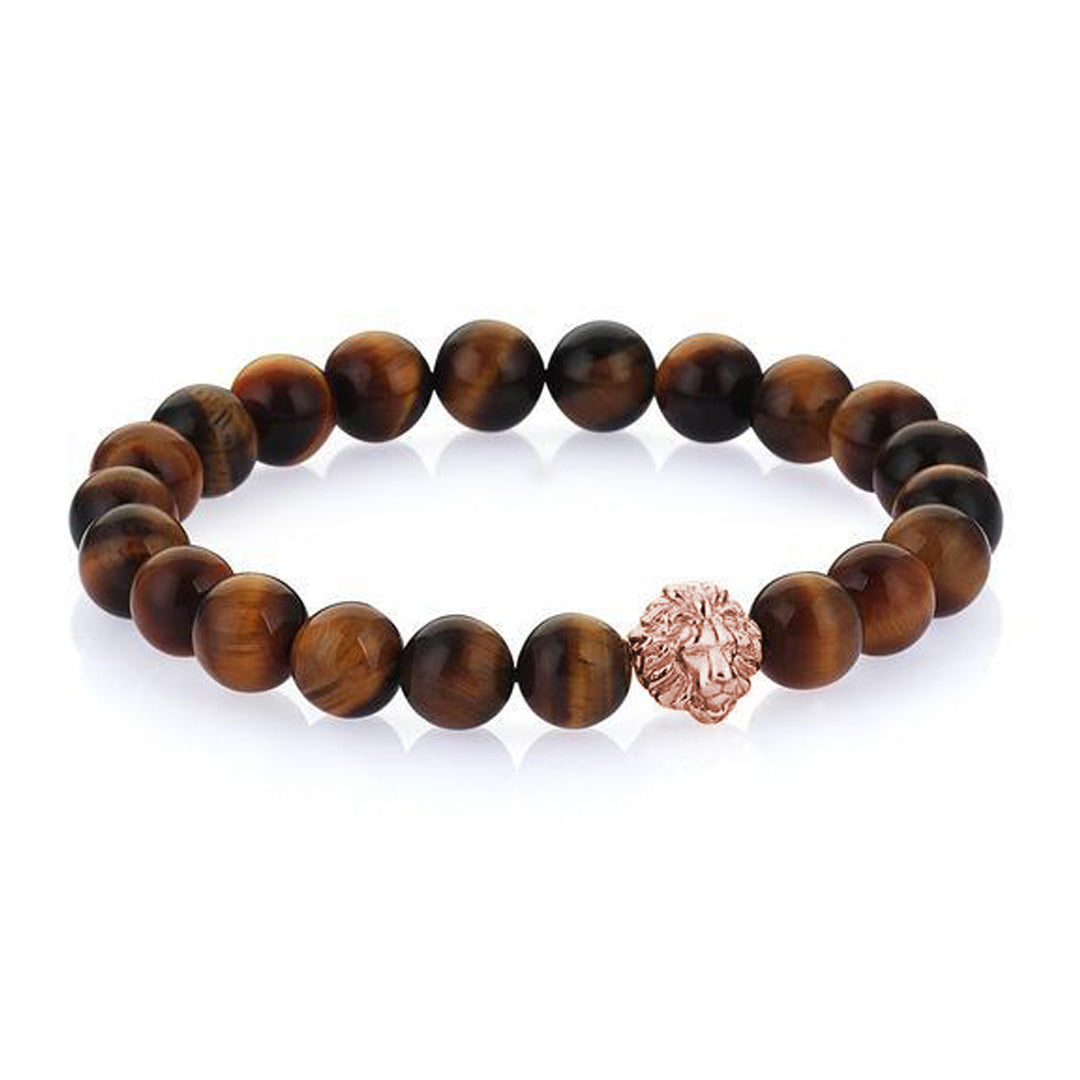 Leo Beaded Bracelets - Rose Gold - Tiger Eye