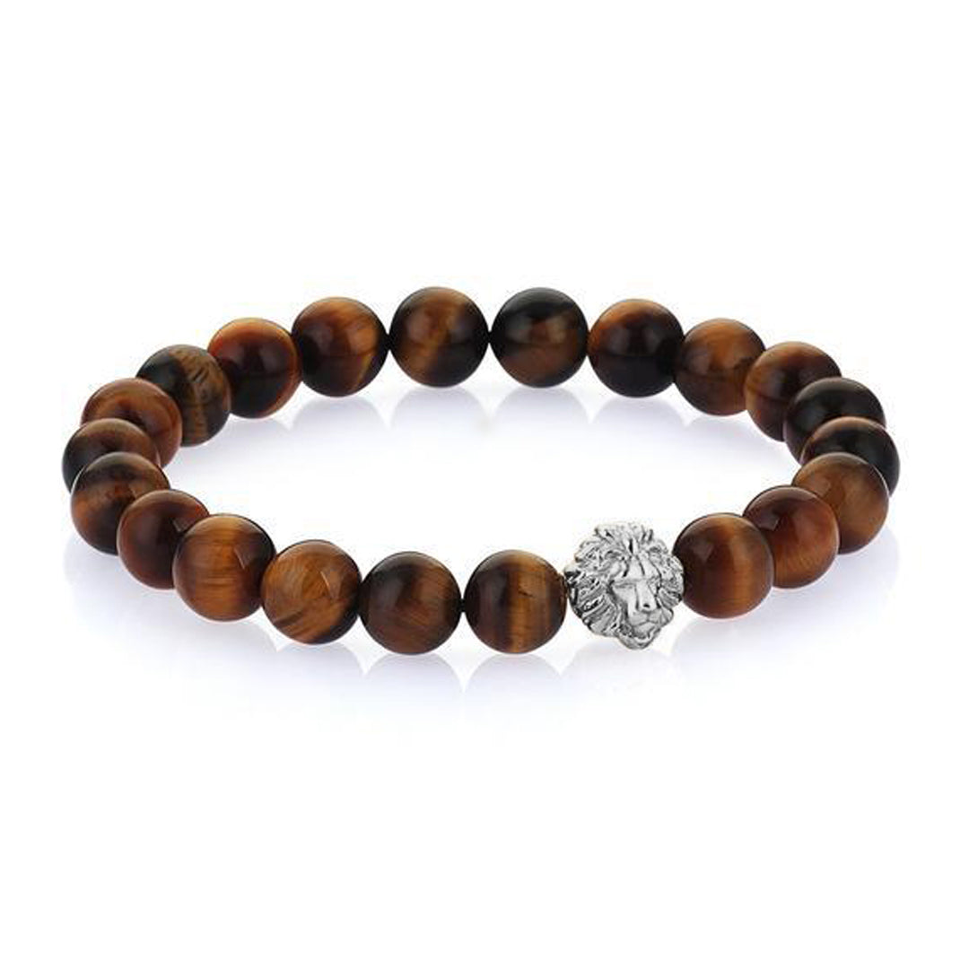 Leo Beaded Bracelets - Silver - Tiger Eye