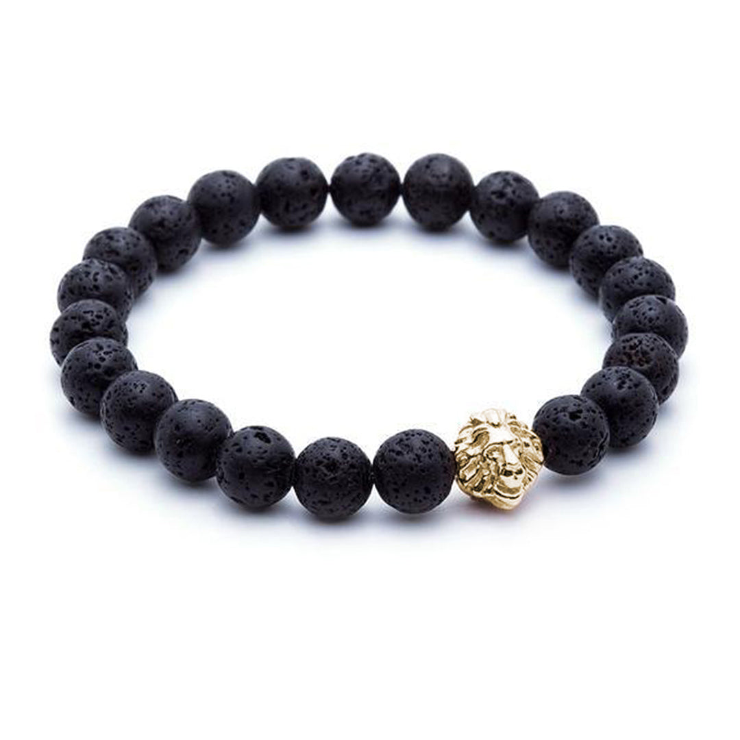 Leo Beaded Bracelets - Yellow Gold - Lavastone