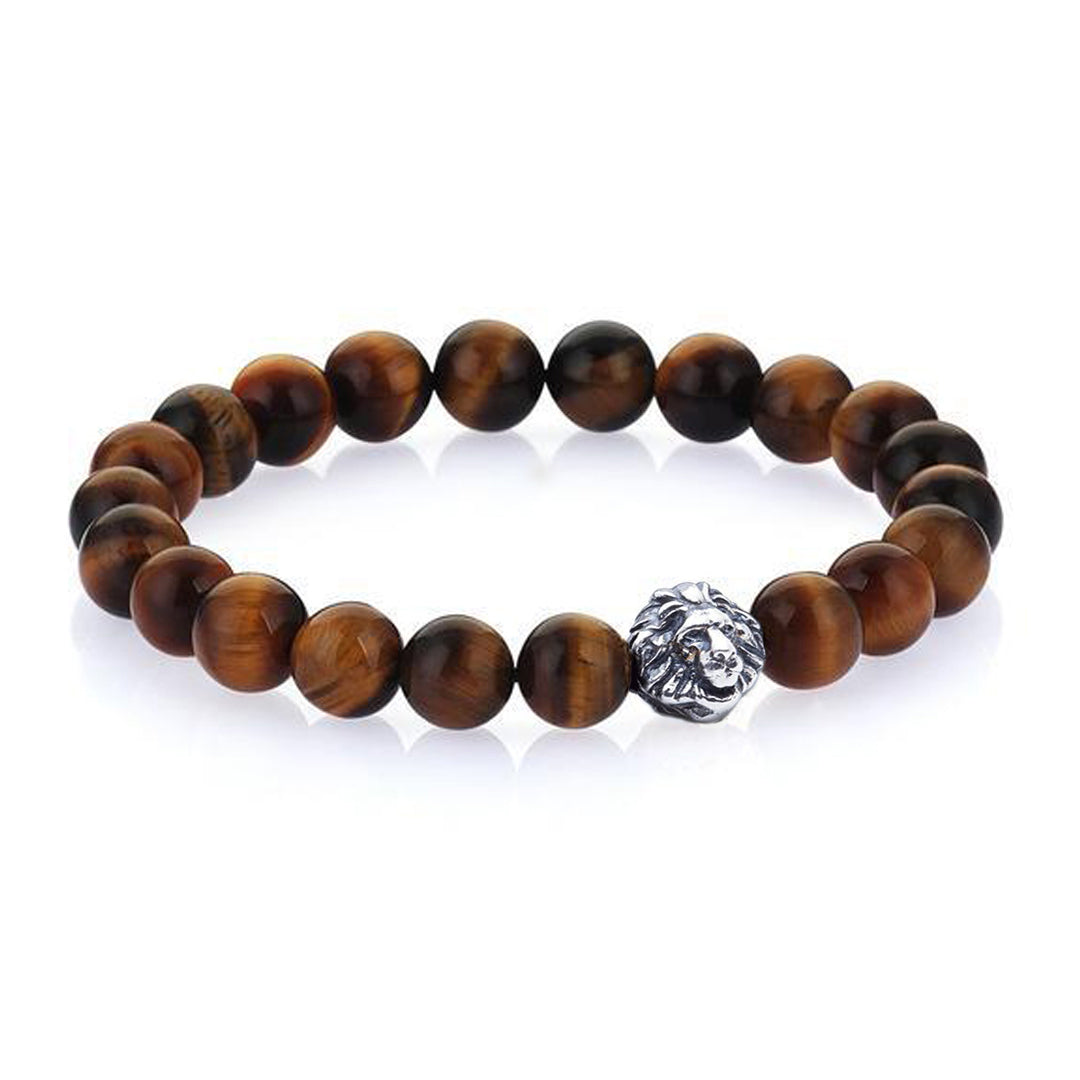 Leo Beaded Bracelets - Oxidised Silver - Tiger Eye