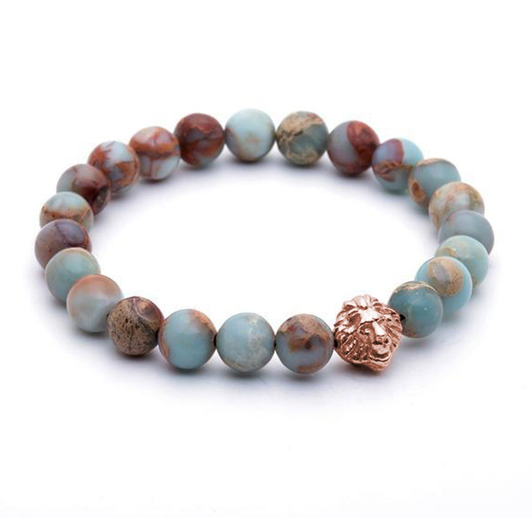 Leo Beaded Bracelets rose gold aqua terra
